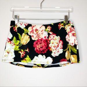 Newport News Black Floral Swim Mini Skirt Size 12